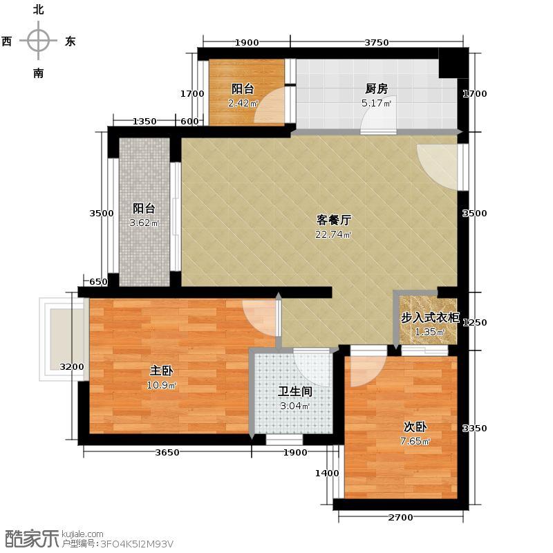 泽科港城国际59.49㎡3栋6/7号房增送户型2室1厅1卫1厨