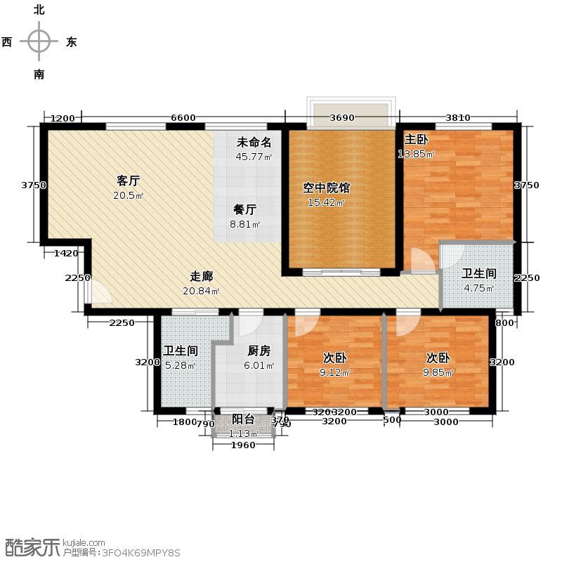 欧林湾145.00㎡户型3室2卫1厨