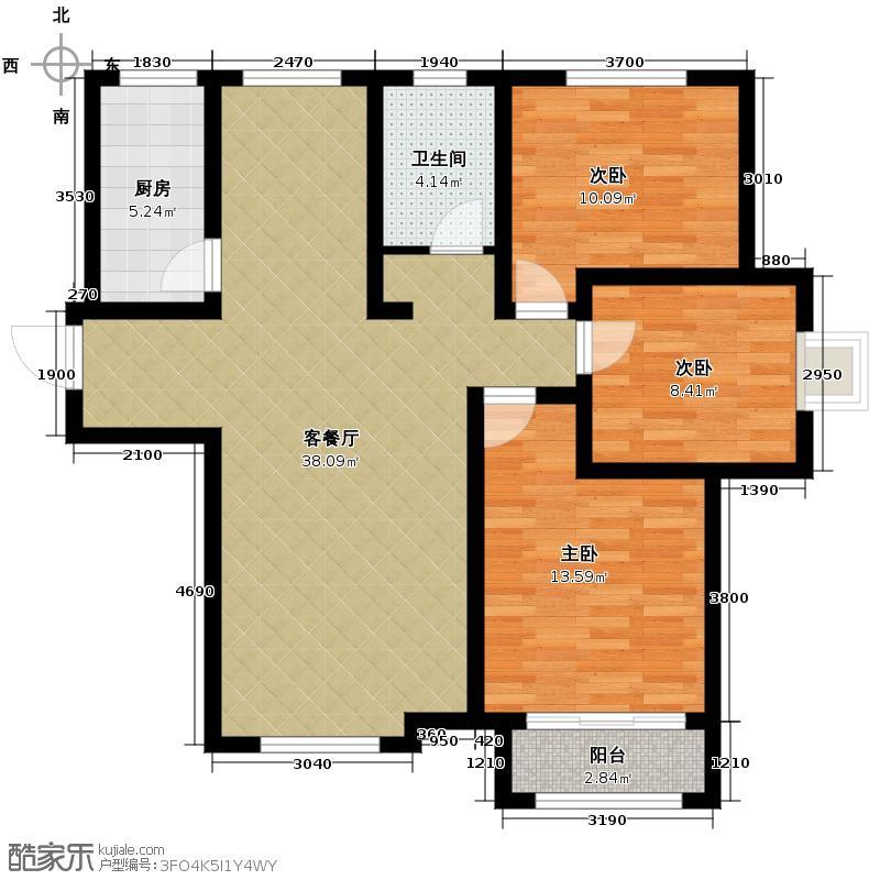 天鹅湖1号116.68㎡A1户型3室2厅1卫