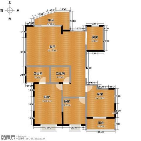 江海皇都1厅2卫1厨138.00㎡户型图