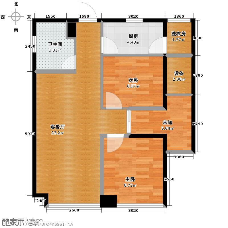锦业时代67.67㎡A4户型2室2厅1卫