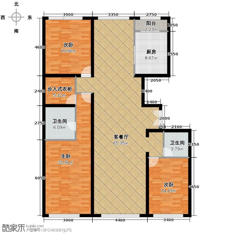 西山壹号院195.00㎡二期E三居户型3室2厅1卫