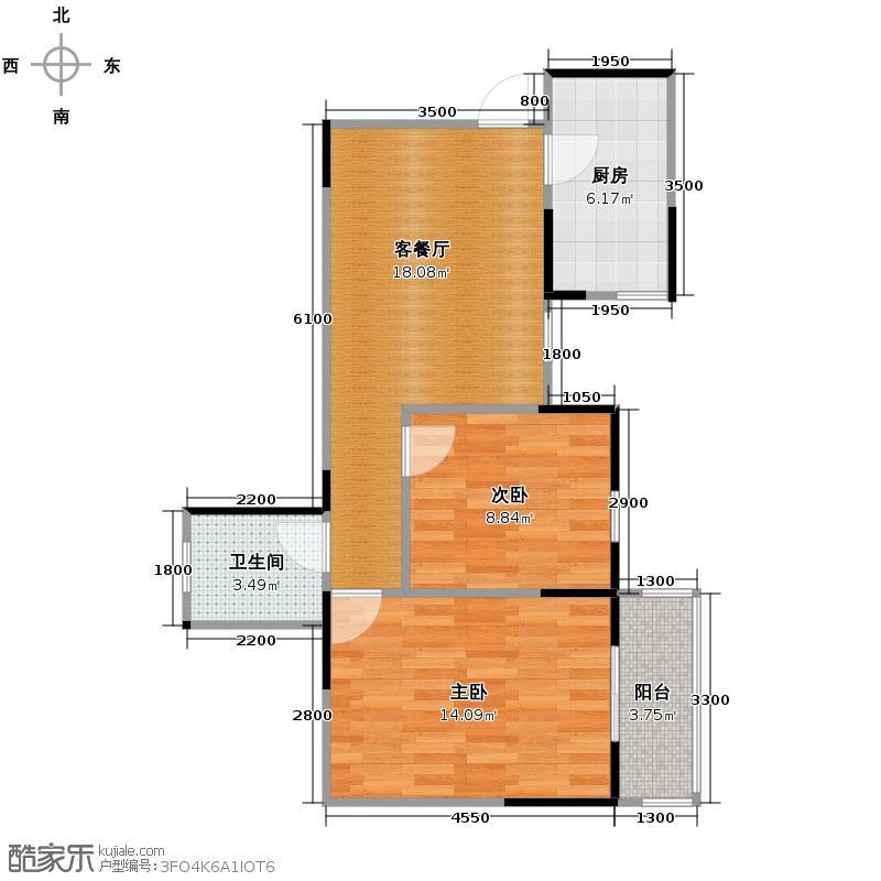 明林庭苑72.34㎡G户型2室2厅1卫
