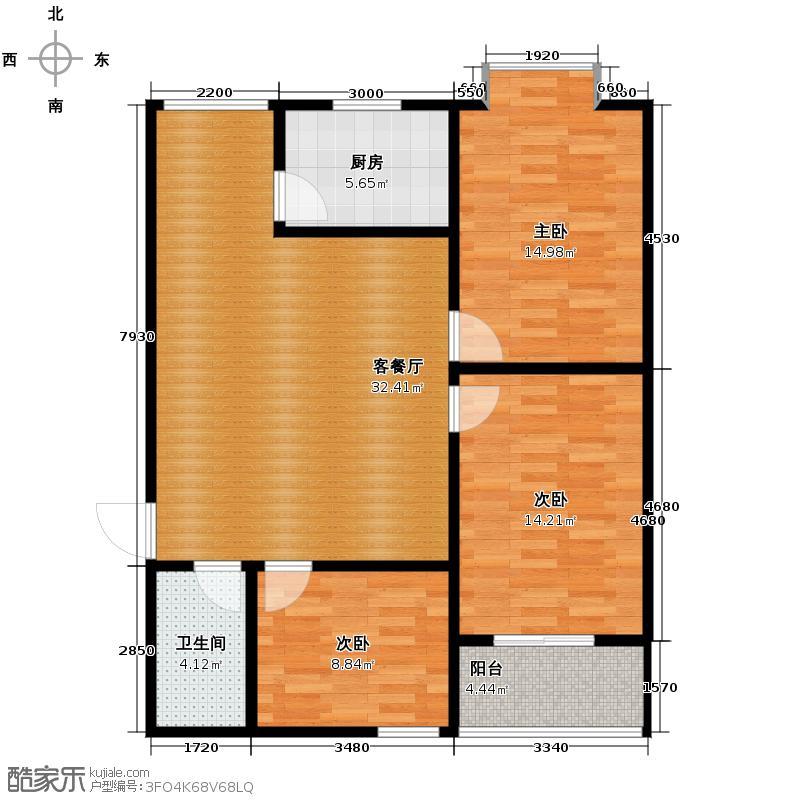 景泰花苑110.11㎡B户型3室1厅1卫1厨
