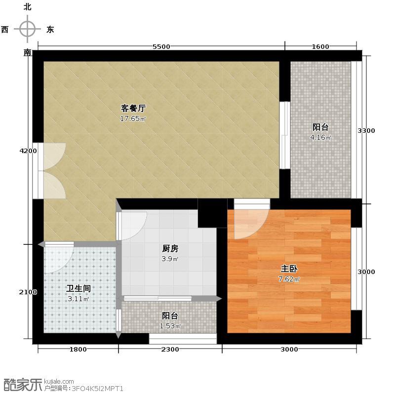 佰度SOHO55.49㎡一期单体楼标准层7号户型1室1厅1卫1厨