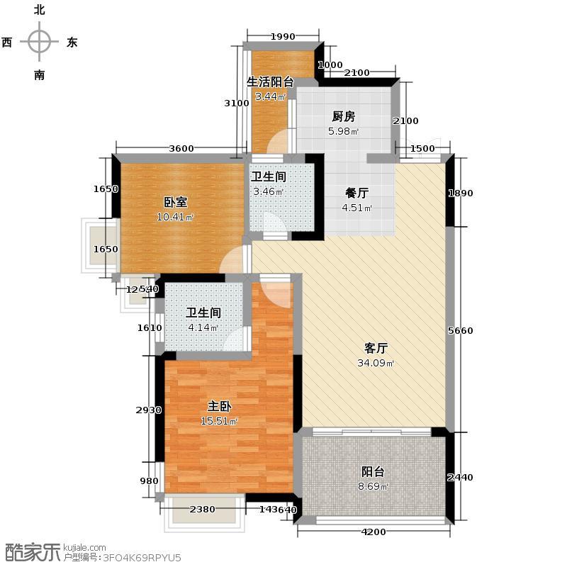 国奥村84.00㎡G型2阳台户型10室