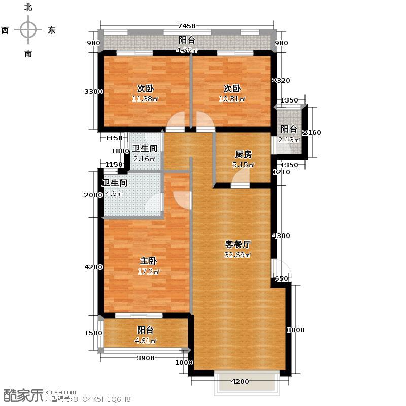 当代国际花园十五区高层108.94㎡户型10室