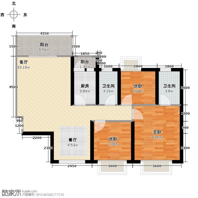 曦城89.06㎡A2户型3室2厅2卫