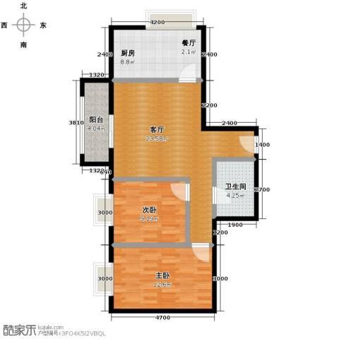 佳境观邸2室1厅1卫1厨89.00㎡户型图