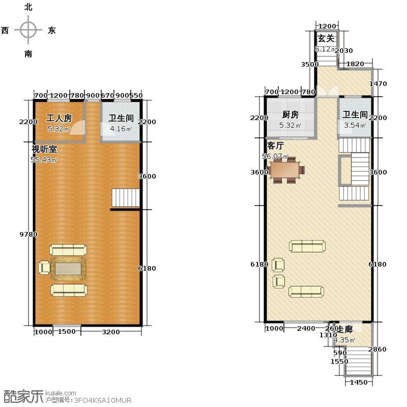 江南山水148.38㎡T1地下一层一层平面图户型1室1厅2卫