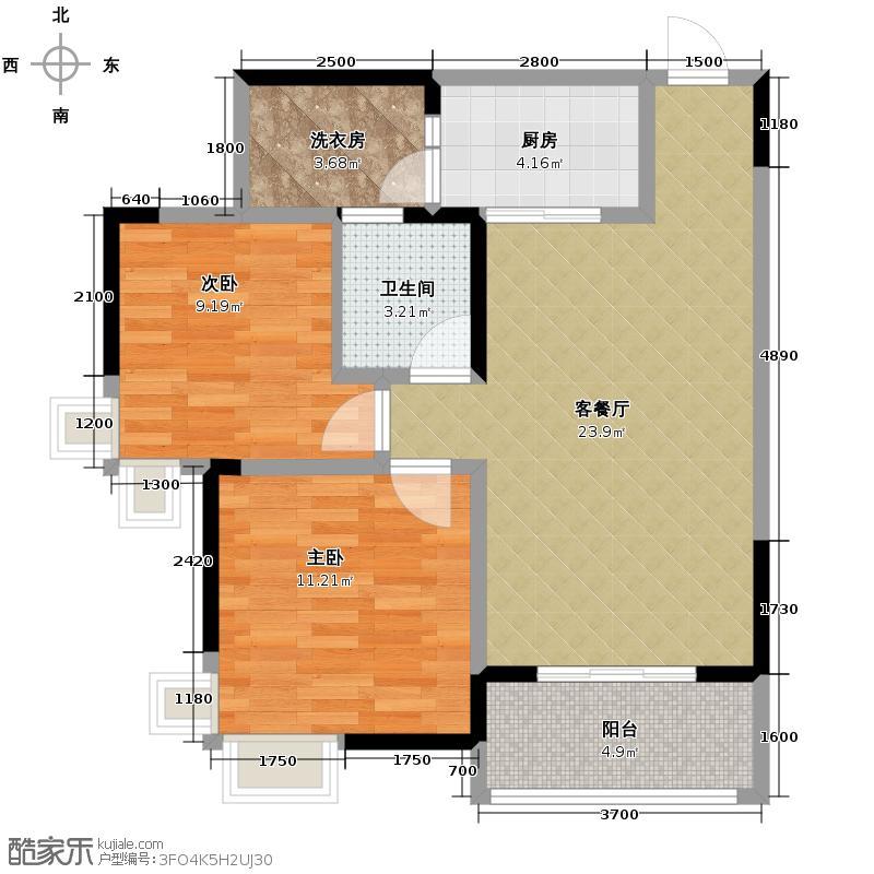 大鼎世纪滨江63.14㎡一期1栋标准层7号房5栋标准层2号房6314户型2室2厅1卫