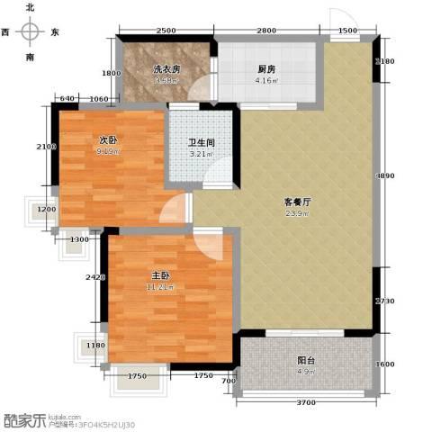 大鼎世纪滨江2室2厅1卫0厨63.00㎡户型图