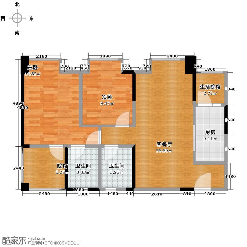 和泓阳光81.11㎡4号楼高层F双卫户型2室1厅2卫1厨