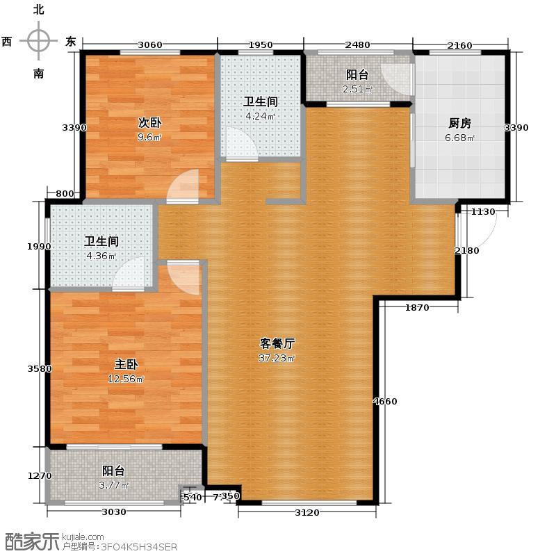 天鹅湖1号106.15㎡A2-银角户型2室2厅2卫