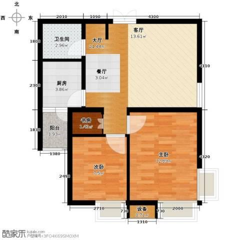 锦尚名城2室2厅1卫0厨75.00㎡户型图
