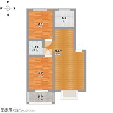 山海新城2室1厅1卫1厨77.00㎡户型图