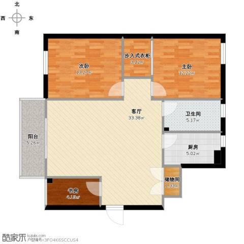 青春水岸3室1厅1卫1厨114.00㎡户型图