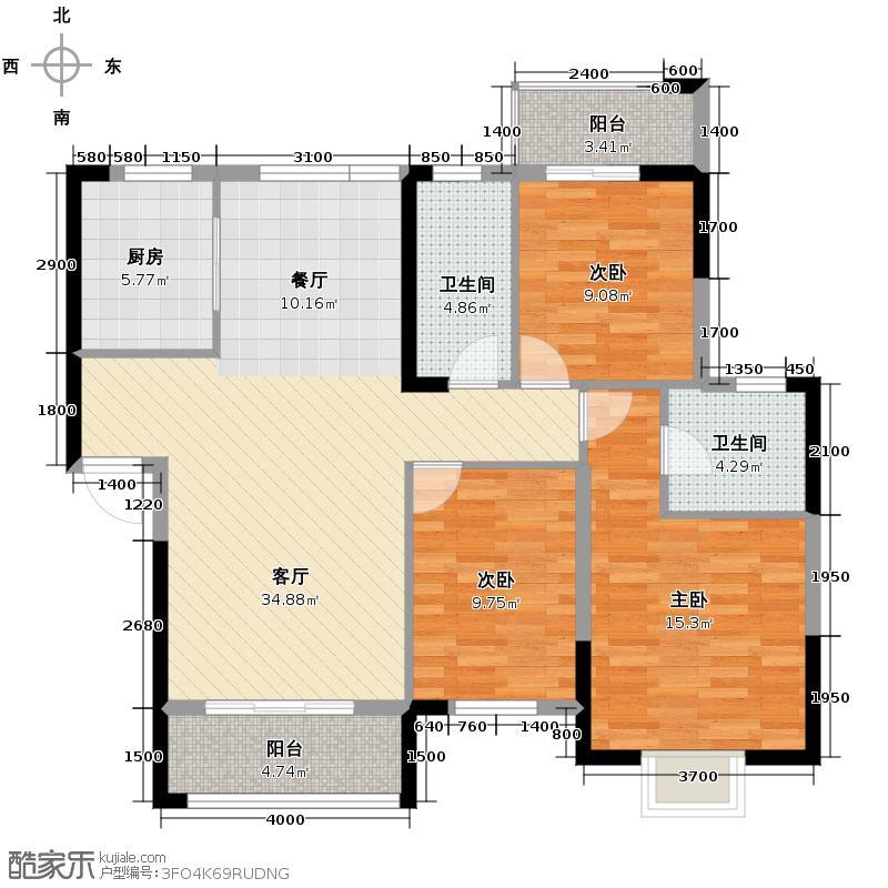 鑫天御景湾122.91㎡F4户型3室2厅2卫