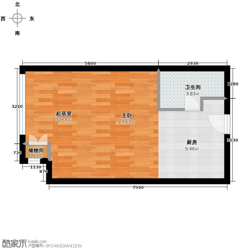 北京华贸城54.59㎡13#14#一居室S01-02户型10室