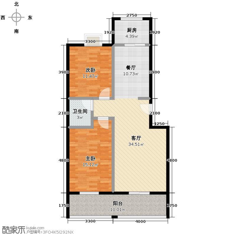 佳宏苑89.39㎡图为4#楼D户型2室1厅1卫1厨