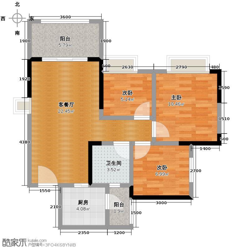 蓝光COCO蜜城72.00㎡C3户型3室2厅1卫