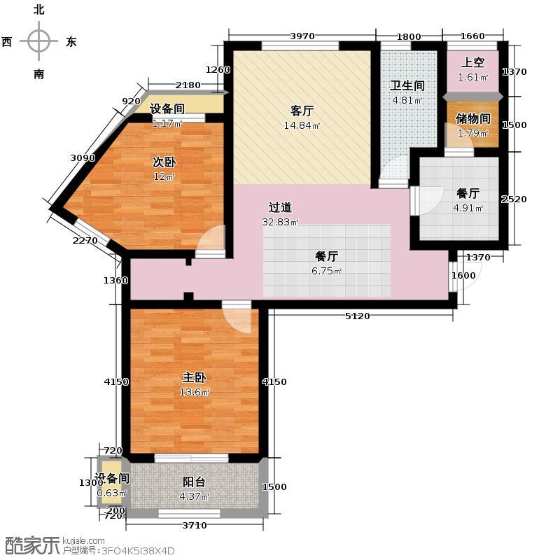 广厦水岸东方106.24㎡15#楼B2户型2室2厅1卫