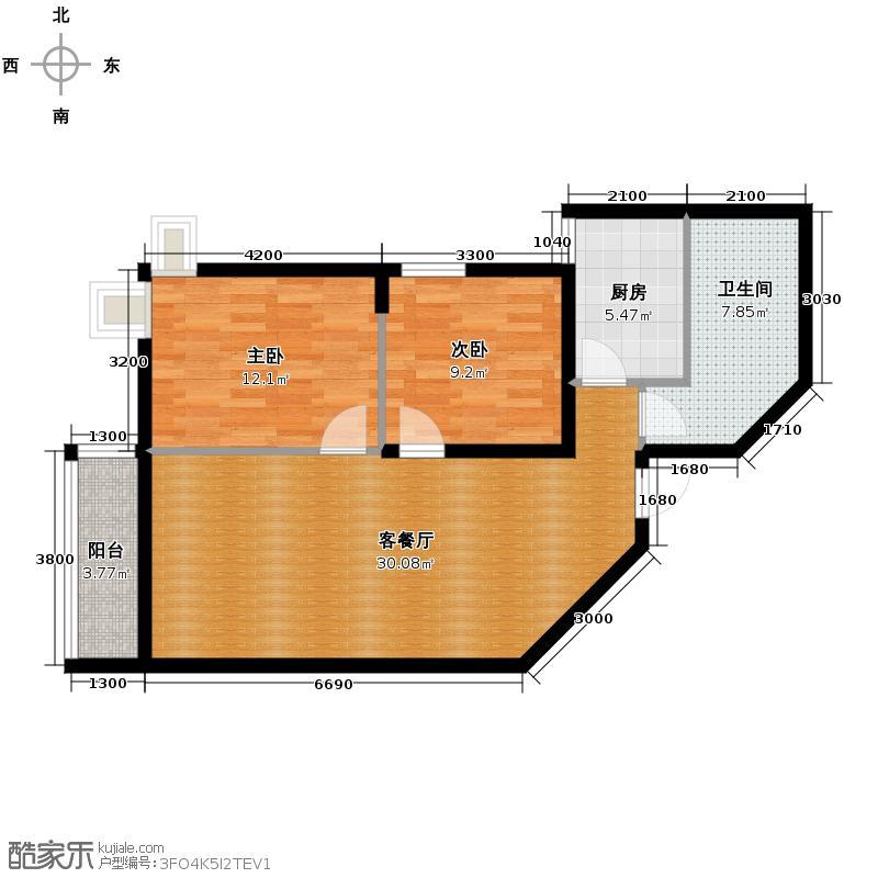蔚蓝领寓93.04㎡2号楼E户型2室1厅1卫1厨
