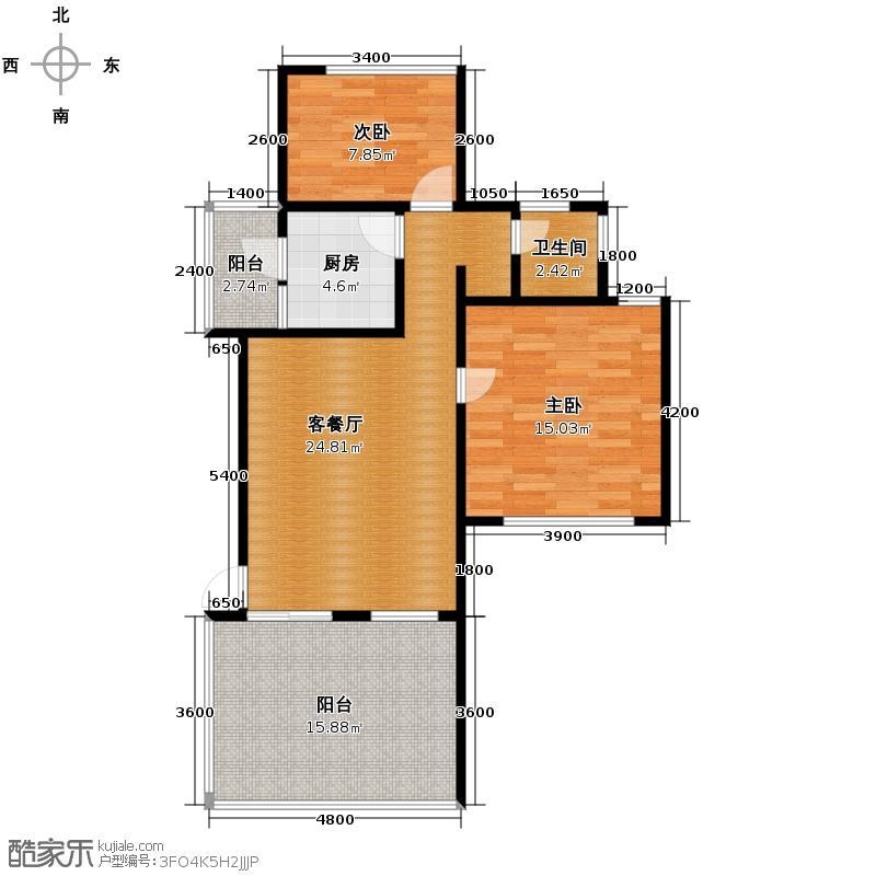 当代国际花园十五区高层81.29㎡户型10室