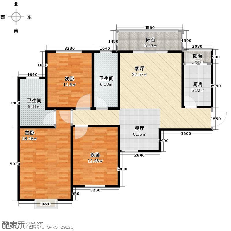 锦湖金利花园127.84㎡二期D3户型3室1厅2卫1厨