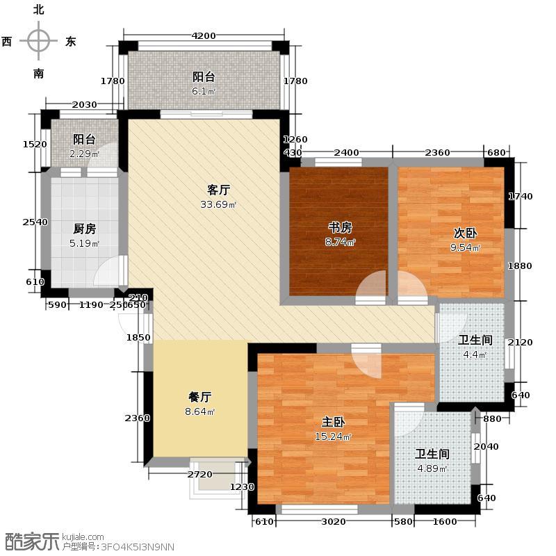 贵通御苑映月湾117.51㎡D2户型3室2厅2卫