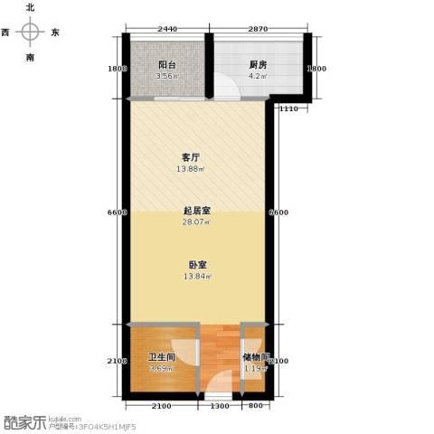 嘉宝星城国际1室1厅1卫0厨46.10㎡户型图