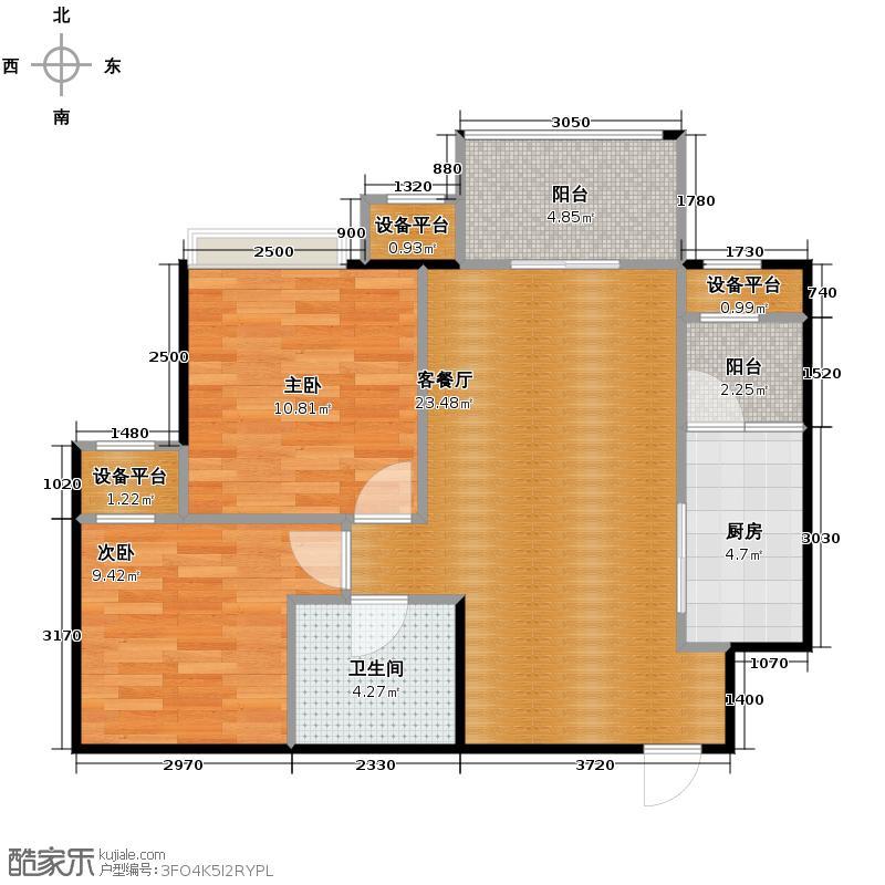 水韵华府79.00㎡14号楼标准层J4户型2室1厅1卫1厨
