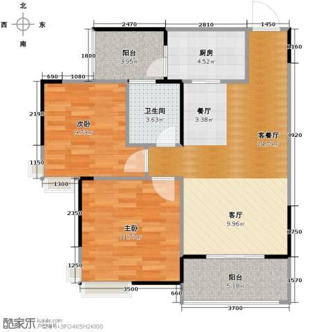大鼎世纪滨江2室2厅1卫0厨65.00㎡户型图