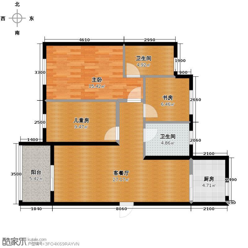 晋合金桥世家98.85㎡B1户型3室2厅2卫