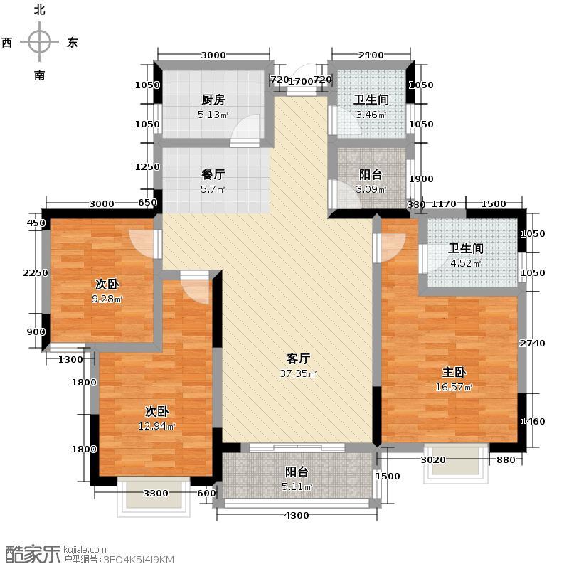 龙瑞尚苑127.00㎡1-2栋A-3户型3室2厅1卫