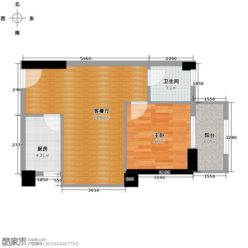 汉城壹号54.78㎡B4户型1室2厅1卫