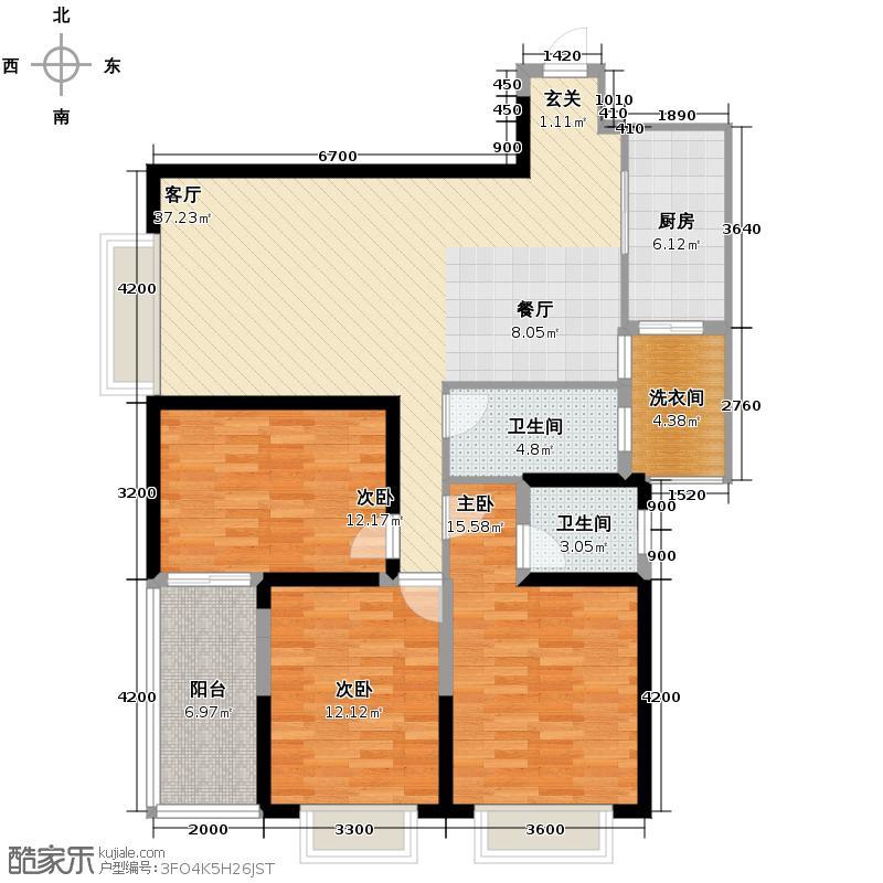 宫园壹号161.36㎡B5户型4室2厅2卫