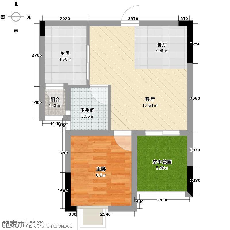 爱加欧郡46.82㎡高层6栋7号房带空中花园户型1室2厅1卫