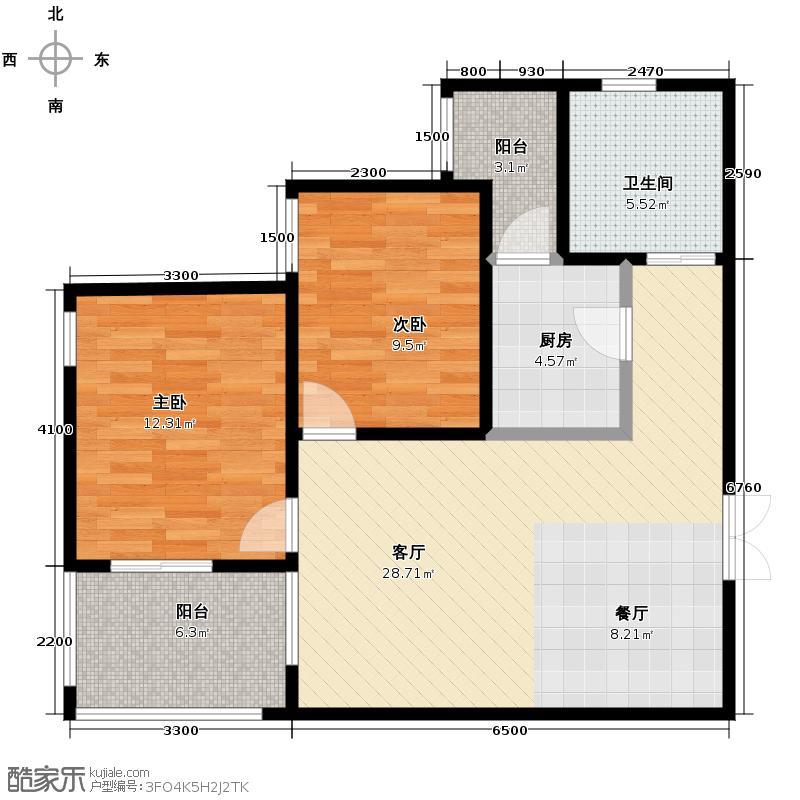 宫园壹号89.53㎡E2户型10室