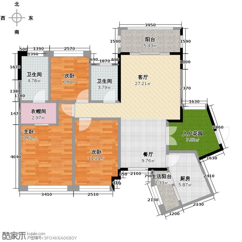 中庚城105.51㎡双卫+入户花园G户型3室2厅2卫