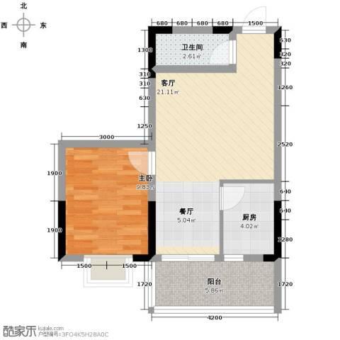 九鼎名都1室1厅1卫1厨46.00㎡户型图