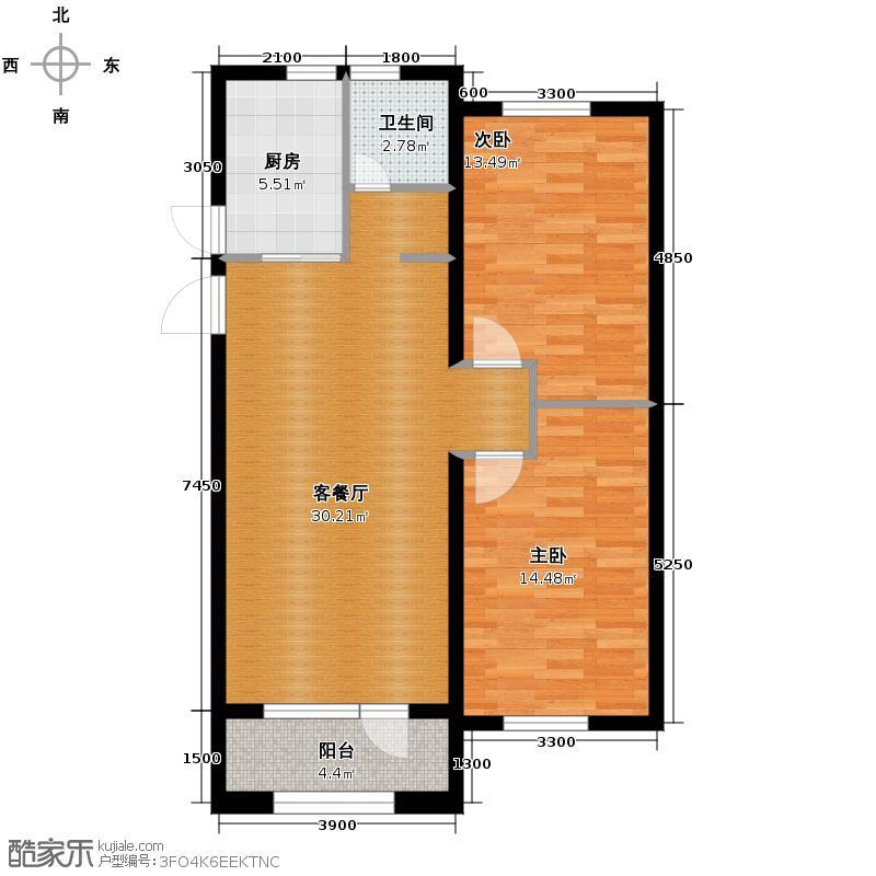 万盛理想国101.00㎡三期红堡C户型2室2厅1卫