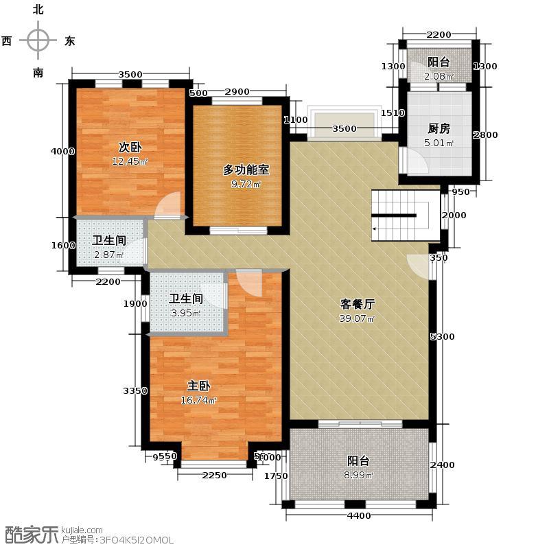爱加欧郡114.59㎡B--6F户型2室2厅1卫