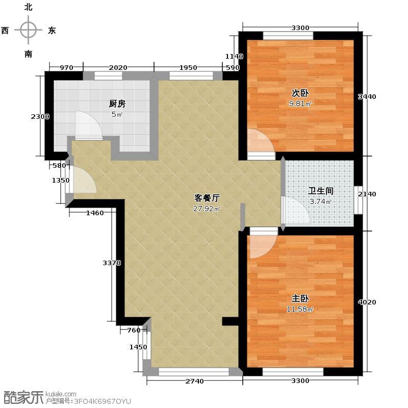 北宁湾97.00㎡5号楼A户型2室2厅1卫