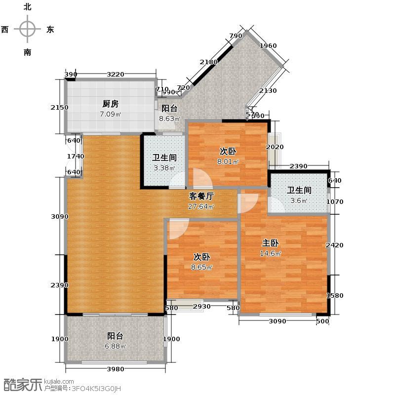 斌鑫中央国际公园95.79㎡一期24-26号楼标准层户型10室