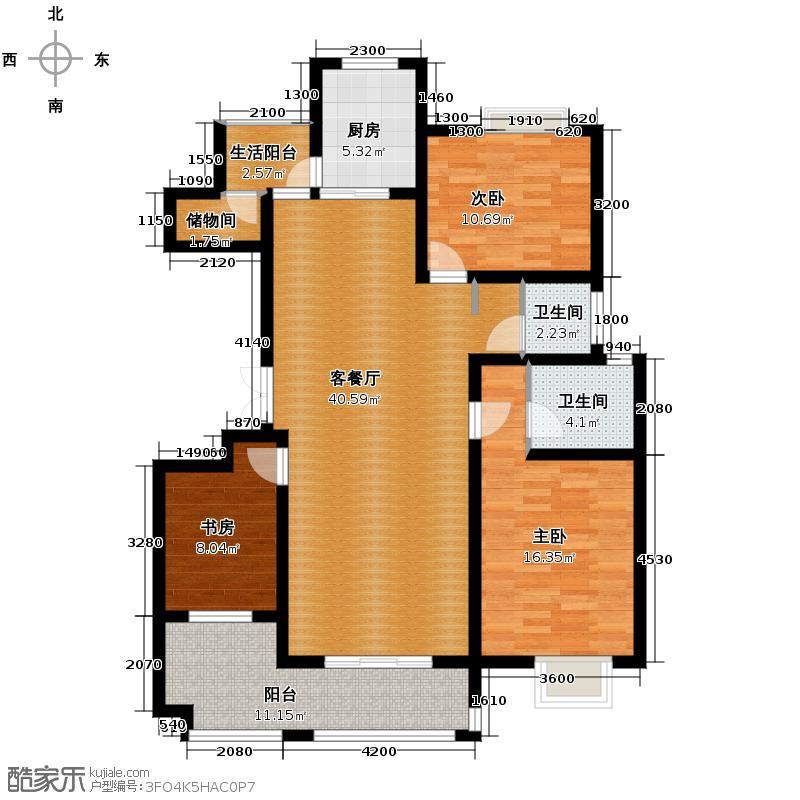 天朗西子湖130.85㎡B4户型3室1厅2卫1厨