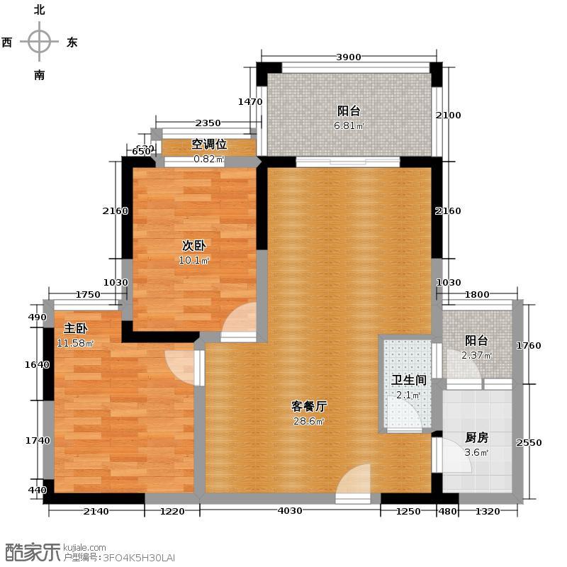 楠香山77.37㎡三期D1-C1户型2室1厅1卫1厨