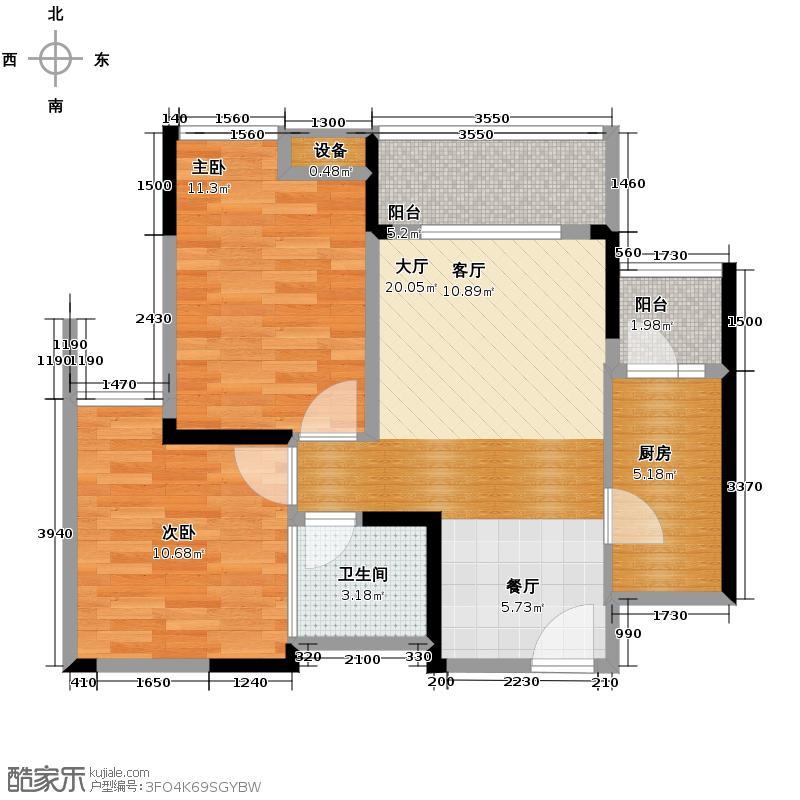 珠江太阳城捌零公馆60.01㎡8号房户型2室2厅1卫