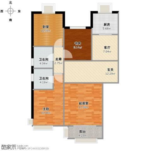 首开熙悦睿府·书香2室1厅2卫1厨125.00㎡户型图