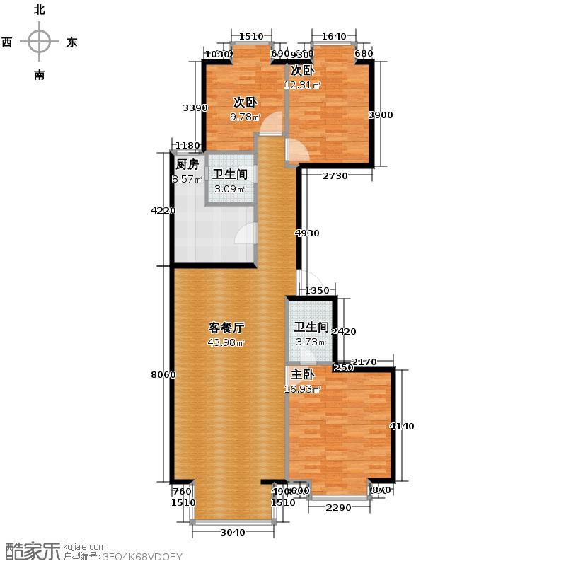 新天地鹭港132.05㎡户型3室2厅2卫